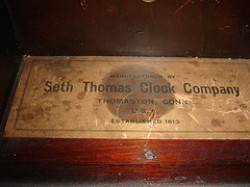 Seth Thomas #2 weight regulator Label