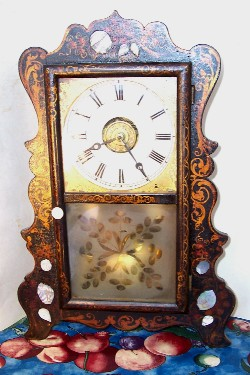 E & A Ingraham Scroll Front Stencilled Shelf Clock, full front