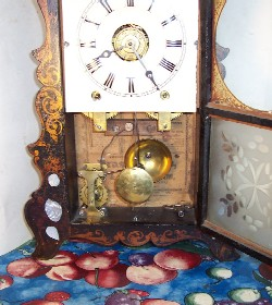 E & A Ingraham Scroll Front Stencilled Shelf Clock, open door