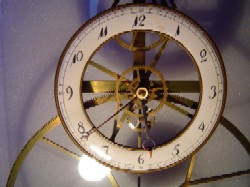 Reproduction great wheel skeleton clock, Dial.