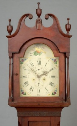 L. WATSON CINCINNATI CHERRY TALL CASE CLOCK, Bonnet.