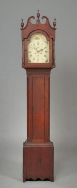 L. WATSON CINCINNATI CHERRY TALL CASE CLOCK, Full view.