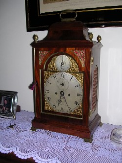 English fusee bracket clock, Full front view.