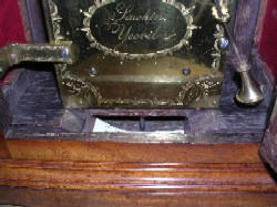 English fusee bracket clock, Closeup of Name.