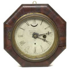 E.N. WELCH, FORESTVILLE, CT., MARINE WALL CLOCK, Full front view.