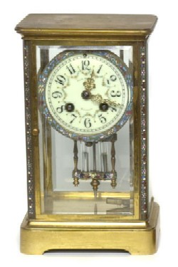 FRANK HERSCHEDE'S FRENCH CRYSTAL REGULATOR CLOCK, Full front view.