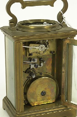 FRENCH CARRIAGE CLOCK PLUS, Rear with door open.