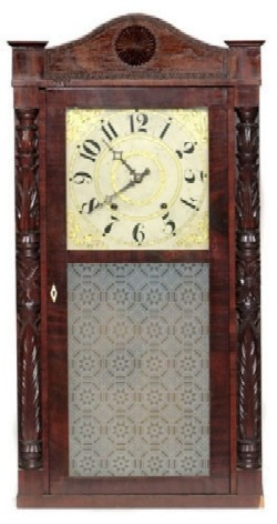 JEROMES & DARROW BRISTOL CT. SHELF CLOCK, Full front view.