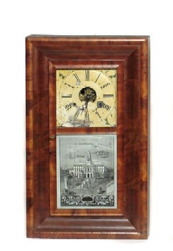 J.C. BROWN, BRISTOL, CONN. OGEE SHELF CLOCK, Full front view.