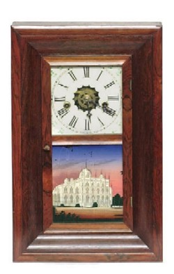 WM L. GILBERT, WINCHESTER, CT., MINIATURE OGEE SHELF CLOCK, Full front view.