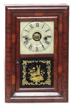 SETH THOMAS, THOMASTON, CT., MINIATURE BEVELED PANEL ALARM SHELF CLOCK, Full front view.