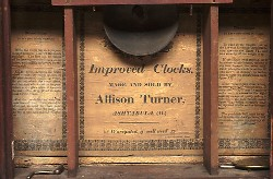 ALLISON TURNER, ASHTABULA, OHIO, SHELF CLOCK, Paper label.
