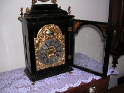 Austrian bracket clock, Full front view with door open.