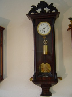 Biedermeier Vienna subminiature wall clock, Full front view.