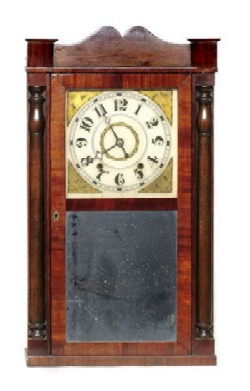 RICHARD & SPINING, DAYTON, OHIO, SHELF CLOCK, Full front view.