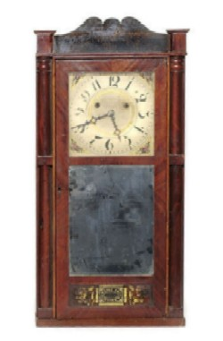 SILAS HOADLEY, PLYMOUTH, CONN., SHELF CLOCK, Full front view.