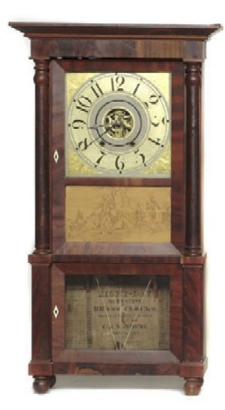 C. & N. JEROME, BRISTOL, CT., TRIPLE-DECKER CLOCK, Full front view.