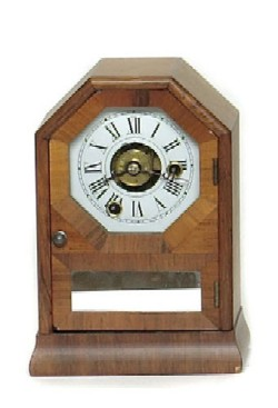 MINIATURE SETH THOMAS OCTAGON-TOP SHELF CLOCK, Full front view.