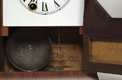 MINIATURE SETH THOMAS OCTAGON-TOP SHELF CLOCK, Label.