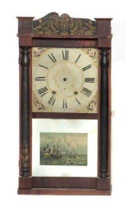 R. SMITH & CO., WATERTOWN, CT., SHELF CLOCK, Full front view.