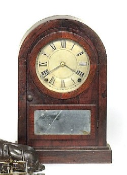 SETH THOMAS, THOMASTON, CT., DOME TOP SHELF CLOCK, Full front view.