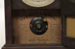 SETH THOMAS, THOMASTON, CT., DOME TOP SHELF CLOCK, Label.