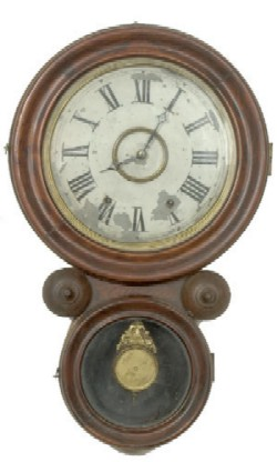 ROSEWOOD NEW HAVEN SAXON IONIC WALL CLOCK, Full front view.