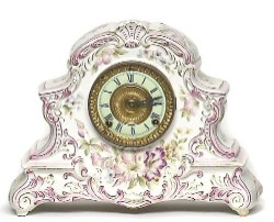 ANSONIA DRESDEN PORCELAIN MANTEL CLOCK, Full front view.
