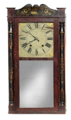 GEORGE MARSH & CO., FARMINGTON, CT., SHELF CLOCK, Full front view.