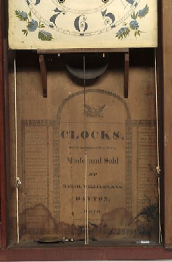 MARSH, WILLIAMS & CO., DAYTON, OHIO, SHELF CLOCK, Label.