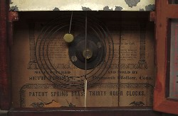 SETH THOMAS, PLYMOUTH HOLLOW, CT., SHELF CLOCK, Label.