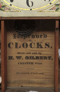 H.W. GILBERT CHESTER CT SHELF CLOCK, Label.