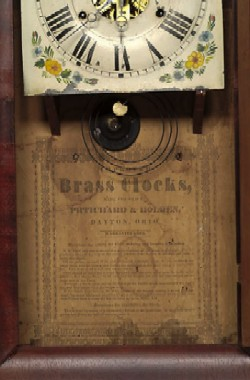 PRITCHARD AND HOLDEN, DAYTON, OHIO, OGEE SHELF CLOCK, Label.