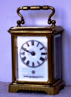 Ansonia Carriage Clock, Full front view.
