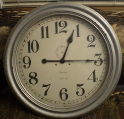24 Inch Ansonia Gallery clock, Full front view, Before.