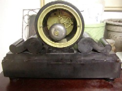 French Marble and Slate mantle clock, Full back view.