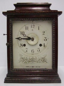 John Bull alarm mantle clock, Full front view.