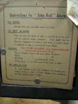 John Bull alarm mantle clock, Instructions.