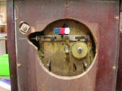 John Bull alarm mantle clock, Movement Front view with Dial removed.