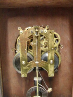 Ansonia mantle clock, Back with door open.