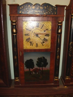 Jeromes and Darrow wood works shelf clock, Full front view.