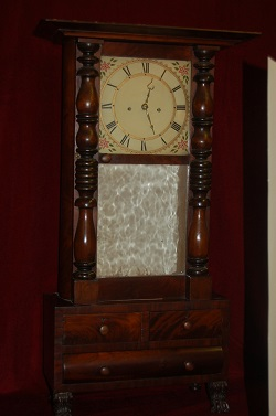 Abner Jones, Empire Shelf Clock, Full front view.