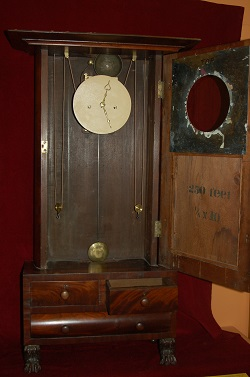 Abner Jones, Empire Shelf Clock, Full View with Door Open.