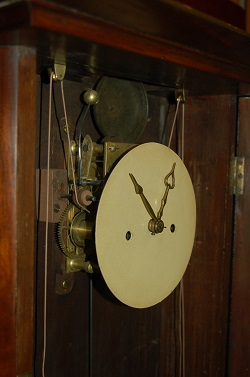 Abner Jones, Empire Shelf Clock, Closeup of Movement and dial center.